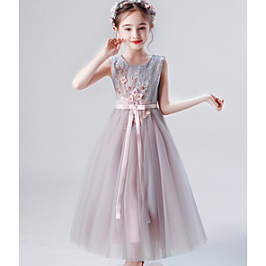 cheap Movie & TV Theme Costumes-Kids Girls' Solid Colored Dress Gray