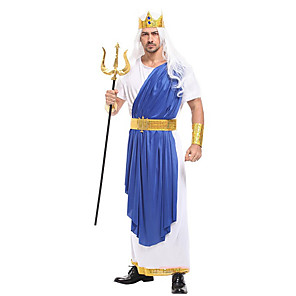 cheap Men's & Women's Halloween Costumes-Sea King Poseidon Cosplay Costume Masquerade Adults' Men's Cosplay Halloween Christmas Halloween Carnival Festival / Holiday Fabric Blue Carnival Costumes Patchwork