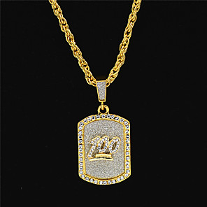 cheap Pendant Necklaces-Men's Women's Gold Chain Necklace Statement Necklace Layered Totem Series Number Statement Punk Trendy Rock 18K Gold Plated Zircon Chrome Gold 70 cm Necklace Jewelry 1pc For Carnival Street Club