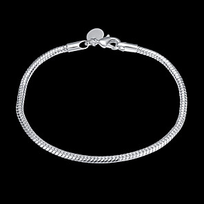 cheap Necklaces-Women's Chain Bracelet Classic Precious Stylish Basic Copper Bracelet Jewelry Silver For Daily Work / Silver Plated