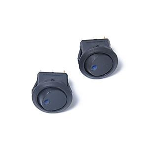 cheap Auto Parts-5PCS Car 12V Round Rocker Dot Boat Blue LED Light Toggle Switch Spst ON / OFF