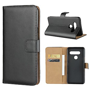 cheap Other Phone Case-Case For LG LG V40 / LG V30 / LG V20 Wallet / Card Holder / with Stand Full Body Cases Solid Colored Hard Genuine Leather