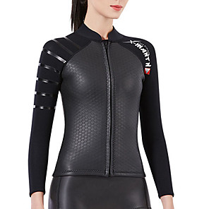 cheap Wetsuits, Diving Suits & Rash Guard Shirts-Dive&Sail Women's Wetsuit Top Wetsuit Jacket 3mm SCR Neoprene Jacket Thermal / Warm Long Sleeve Front Zip - Swimming Diving Water Sports Solid Colored Autumn / Fall Spring Summer / Stretchy