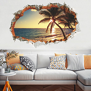 cheap Wall Stickers-Decorative Wall Stickers - 3D Wall Stickers Landscape / Floral / Botanical Living Room / Bedroom / Kitchen / Re-Positionable