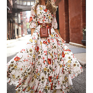 cheap Mobile Phone Sterilizer-Women's Floral Long Maxi White Dress With Sleeve 2020 Ruffle Casual Spring Holiday Vacation Swing Flower Lantern Sleeve Flared Print S M
