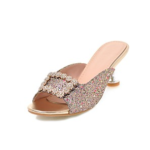 cheap Women's Sandals-Women's Sandals Glitter Crystal Sequined Jeweled Kitten Heel Open Toe Rhinestone PU Classic Summer Pink / Gold / Silver / Party & Evening / Party & Evening