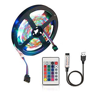 cheap LED Strip Lights-2M LED Light Strips Flexible Tiktok Lights 5V USB Powered SMD 120 X 2835 8mm Color with 24 Keys IR Remote Control for TV Background Lighting PC Notebook Home Decoration