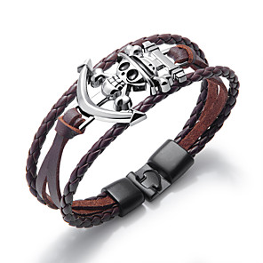 cheap Pendant Necklaces-Men's Leather Bracelet Loom Bracelet Rope Skull Calaveras Statement Punk Trendy Rock Gothic Titanium Steel Bracelet Jewelry White / Black / Brown For Party Gift Daily Carnival Club