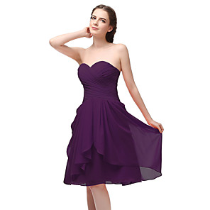 cheap Bridesmaid Dresses-A-Line Sweetheart Neckline Short / Mini Chiffon Bridesmaid Dress with Ruching