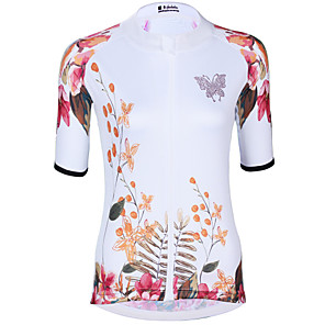 cheap Cycling Jerseys-ILPALADINO Women's Short Sleeve Cycling Jersey Elastane White Floral Botanical Bike Jersey Top Road Bike Cycling UV Resistant Quick Dry Moisture Wicking Sports Clothing Apparel