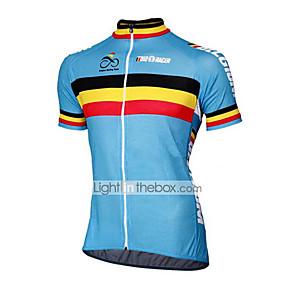cheap Cycling Jerseys-21Grams Belgium National Flag Men's Short Sleeve Cycling Jersey - Blue Bike Top UV Resistant Breathable Quick Dry Sports Terylene Mountain Bike MTB Road Bike Cycling Clothing Apparel / Micro-elastic