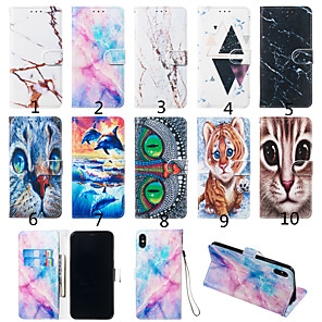 cheap Other Phone Case-Case For Motorola Moto G7 / Moto G7 Plus / Moto G7 Play Wallet / Card Holder / with Stand Full Body Cases Animal / Marble Hard PU Leather