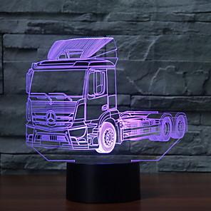 cheap 3D Night Lights-1pc 3D Truck Nightlight Color-changing USB Creative <=36 V