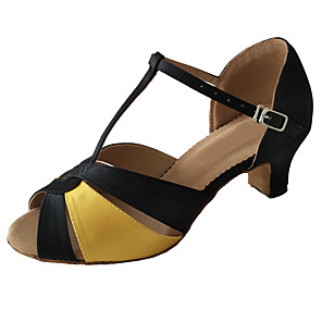 cheap Latin Shoes-Women's Dance Shoes Satin Latin Shoes Heel Thick Heel Customizable Black / Gold