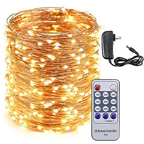 cheap Bathroom Gadgets-50M LED Copper Wire String Lights 500LEDs Starry Lights and 12V 3A Power Adapter and Remote Control Christmas Holiday