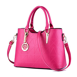 cheap Handbag & Totes-Women's PU Tote Geometric Pattern Wine / White / Black / Fall & Winter