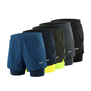cheap Phone Mounts & Holders-Arsuxeo Men's Running Shorts Athletic Shorts Bottoms 2 in 1 Liner Split Spandex Gym Workout Running Active Training Jogging Trail Breathable Quick Dry Reflective Strips Sport Blue+Yellow Black Army