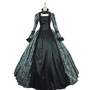 cheap Historical & Vintage Costumes-Princess Maria Antonietta Floral Style Rococo Victorian Renaissance Dress Party Costume Masquerade Women's Lace Costume Gray Vintage Cosplay Christmas Halloween Party / Evening 3/4 Length Sleeve