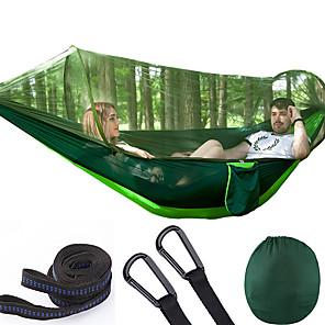preiswerte Campingmöbel-Camping-Hängematte mit Pop-Up-Moskitonetz Doppelte Hängematte Außen Atmungsaktiv Anti - Moskito Extraleicht(UL) Klappbar Maschen Fallschirm aus Nylon mit Karabinern und Baumgurten für 2 Personen