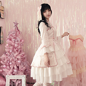 cheap Lolita Dresses-Classical Traditional Cute Dress Cosplay Costume Halloween Props Party Costume All Japanese Cosplay Costumes Light Pink Print Vintage Flare Cuff Sleeve 3/4 Length Sleeve Knee Length Medium Length