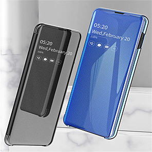 cheap Samsung Case-Case For Samsung Galaxy Galaxy S10 / Galaxy S10 Plus / Galaxy S10 E with Stand / Plating / Mirror Full Body Cases Solid Colored Hard PU Leather