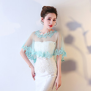 cheap Wedding Wraps-Sleeveless Capelets Tulle / Polyester Wedding / Party / Evening Women's Wrap With Embroidery