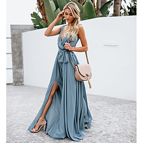 cheap Bridesmaid Dresses-A-Line Plunging Neck Floor Length Chiffon Bridesmaid Dress with Bow(s)