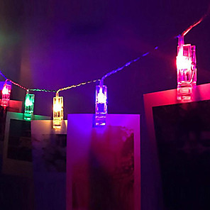 cheap LED String Lights-1.5M 10LEDs String Lights Home Wall Hanging Card Picture Clips Photo Pegs String Light Lamp Indoor Decor Fashion String Lamp 3V 1pc