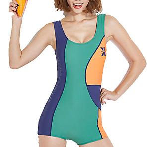 cheap Athletic Swimwear-Dive&Sail Women's One Piece Swimsuit Patchwork Bodysuit Swimwear Light Yellow Arm Green Orange Chlorine resistance Outdoor High Elasticity Sleeveless - Outdoor Summer / Elastane