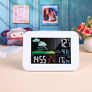 cheap CCTV Cameras-Wireless Colorful LCD Barometer Alarm Moon Weather Station In/Outdoor Temperature Humidity Weather Forecast Temperature Humidity