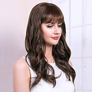 cheap Human Hair Capless Wigs-Human Hair Wig Long Curly Natural Wave Neat Bang With Bangs Simple Sexy Lady Hot Sale Capless Women's All Chestnut Brown / African American Wig / For Black Women