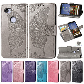 cheap Other Phone Case-Case For Google Google Pixel 3a / Google Pixel 3a XL Embossed / Flip / with Stand Full Body Cases Flower / Butterfly Soft PU Leather for Google Pixel 3a XL / Google Pixel 3a
