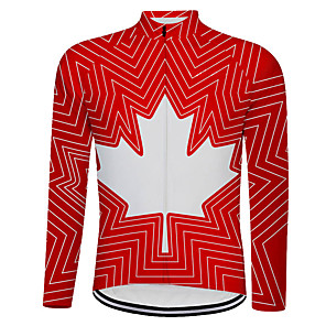 cheap Cycling Jerseys-21Grams Canada National Flag Men's Long Sleeve Cycling Jersey - Red Bike Top UV Resistant Breathable Moisture Wicking Sports Winter Fleece Terylene Mountain Bike MTB Road Bike Cycling Clothing Apparel