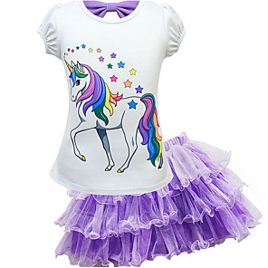 cheap Movie & TV Theme Costumes-Kids Girls' Basic Horse Unicorn Cartoon Short Sleeve Clothing Set Purple