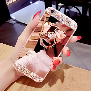 cheap iPhone Cases-Phone Case Mirror Surface Phone Case With Bear Shaped Ring &amp Stand For iPhone 5/6/6P/7/7P/8/8P/X/XS/XR/XS MAX