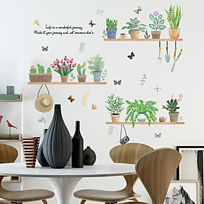 cheap Wall Stickers-Fresh Green Potted Plants Wall Stickers - Words &amp Quotes Wall Stickers Characters Study Room / Office / Dining Room / Kitchen