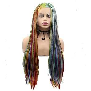 cheap Synthetic Lace Wigs-Synthetic Lace Front Wig Dreadlocks / Faux Locs Matte Afro Layered Haircut Braid Lace Front Wig Long Rainbow Synthetic Hair 24 inch Women's Women Sexy Lady Hot Sale Red Blue Sylvia