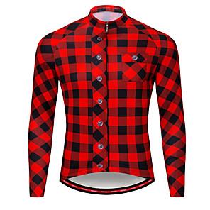 cheap Cycling Jerseys-WOSAWE Men's Long Sleeve Cycling Jersey Winter Fleece Black / Red Bike Tee / T-shirt Jersey Top Mountain Bike MTB Road Bike Cycling Breathable Moisture Wicking Reflective Strips Sports Clothing