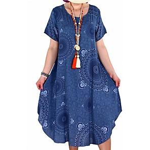 cheap Christmas Decorations-Women's Tunic Short Sleeve Tribal Print Summer Plus Size Casual Loose White Black Blue Red Yellow Blushing Pink Orange S M L XL XXL XXXL XXXXL XXXXXL