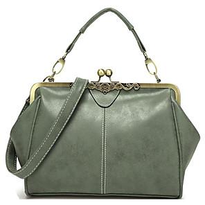 cheap Handbag & Totes-Women's PU(Polyurethane) / PU Top Handle Bag Solid Color Fuchsia / Royal Blue / Green / Fall & Winter