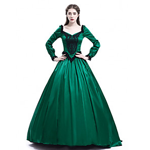 cheap Historical & Vintage Costumes-Princess Maria Antonietta Floral Style Rococo Victorian Renaissance Dress Party Costume Masquerade Women's Lace Costume Green Vintage Cosplay Christmas Halloween Party / Evening 3/4 Length Sleeve