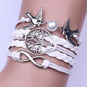 cheap Bracelets-Men's Women's Leather Bracelet Braided Infinity Fashion Alloy Bracelet Jewelry White / Brown / Blue For Daily Festival