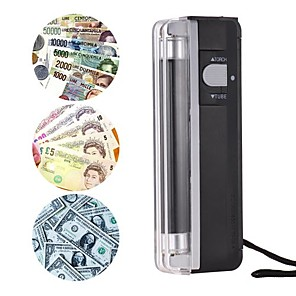 cheap Novelties-2-in-1 portable mini money detector counterfeit cash currency banknote bill checker tester with uv light flashlight