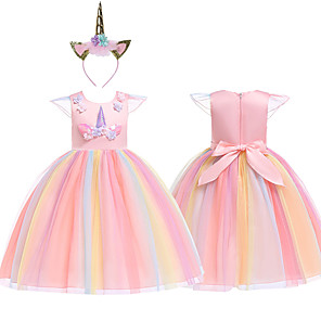 cheap Movie & TV Theme Costumes-Princess Unicorn Cosplay Costume Masquerade Flower Girl Dress Kid's Girls' A-Line Slip Cosplay Halloween Christmas Halloween Carnival Festival / Holiday Tulle Cotton Purple / Yellow / Pink Carnival