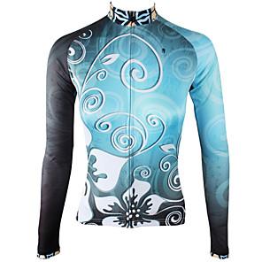 povoljno Biciklističke majice-ILPALADINO Žene Dugih rukava Biciklistička majica Zima Runo Elastan Sky blue Cvjetni / Botanički Bicikl Biciklistička majica Majice Brdski biciklizam biciklom na cesti Ugrijati Podstava od flisa