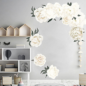 cheap Wall Stickers-White Beautiful Flowers Wall Stickers - Words &ampamp Quotes Wall Stickers Characters Study Room / Office / Dining Room / Kitchen