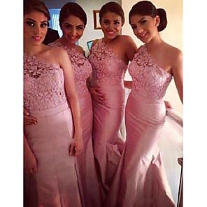 cheap Bridesmaid Dresses-Mermaid / Trumpet One Shoulder Floor Length Taffeta Bridesmaid Dress with Lace / Sash / Ribbon