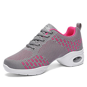 cheap Dance Sneakers-Women's Dance Shoes Cotton / Faux Leather / PU Dance Sneakers Glitter / Tassel / Splicing Sneaker Thick Heel Black / Pink / Dark Red / Performance / Practice