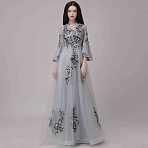 cheap Wedding Wraps-A-Line Chinese Style Holiday Formal Evening Dress V Wire 3/4 Length Sleeve Floor Length Lace Tulle with Appliques 2020
