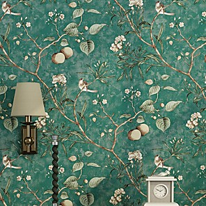 cheap Wallpaper-Floral / Botanical Home Decoration Modern Wall Covering, Nonwoven Material Adhesive required Wallpaper, Room Wallcovering